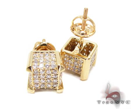 YG Tiny Cube Earrings 2 Stone
