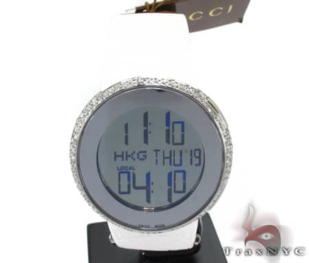 Ladies White Fully Iced Gucci Watch Gucci