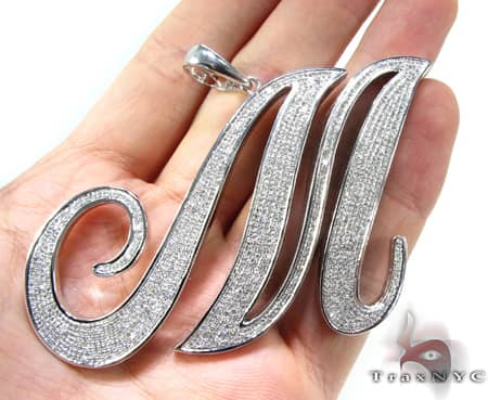 Diamond Initial M Pendant 10905 Metal