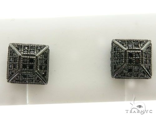 10K Black Gold Micro Pave Diamond Stud Earrings 63016 Stone