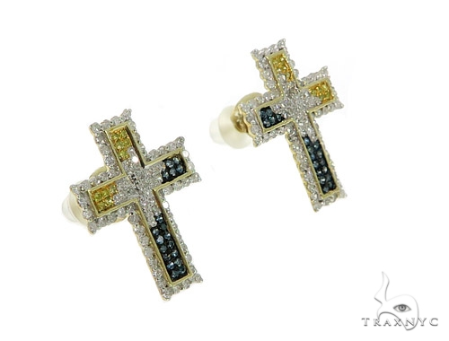 10K Cross Crucifix Diamond Earrings 57392 Stone