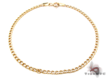 10K Cuban Diamond Cut Bracelet 33033 Gold