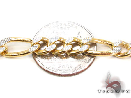 10K Figaro Diamond Cut Bracelet 33019 Gold