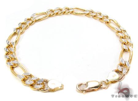 10K Figaro Diamond Cut Bracelet 33019 Gold