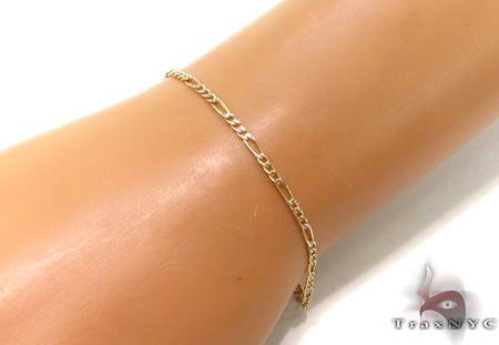 10K Figaro Diamond Cut Bracelet 33023 Gold