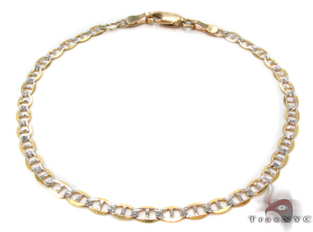 10K Gold Anchor Diamond Cut Bracelet 33205 Gold