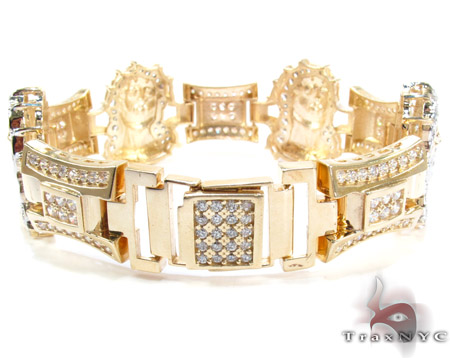 10K Gold CZ Jesus Head Bracelet 25393 Gold