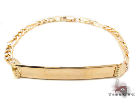 10K Gold Figaro Diamond Cut ID Bracelet 33038 Gold