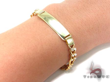 10K Gold Figaro Diamond Cut ID Bracelet 33041 Gold