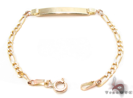 Baby 10K Gold Figaro Diamond Cut ID Bracelet 33040 Gold