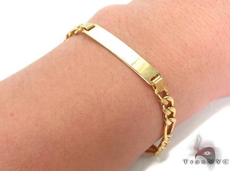 10K Gold Figaro ID Bracelet 33042 Gold