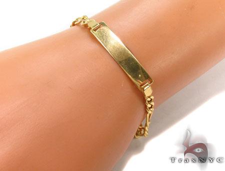 10K Gold Figaro ID Bracelet 33044 Gold