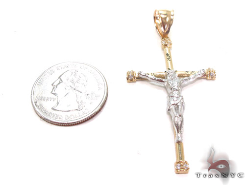 CZ 10K Gold Jesus Cross Crucifix 34126 Gold