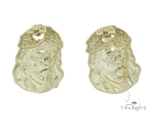 10K Gold Jesus Earrings 34150 Metal