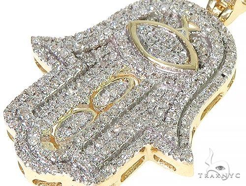 10K Gold Micro Pave Diamond Hamsa Hand Charm Set 66286 Metal