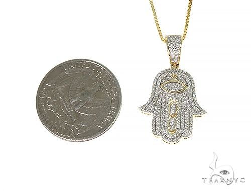 10K Gold Micro Pave Diamond Hand Charm Set 66286 Diamond