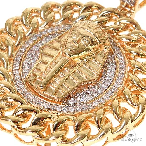 10K Gold Micro Pave Diamond Pharaoh King Tut Pendant 63294 Metal