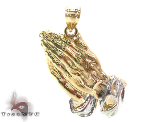 10K Prayer Hands Gold Pendant Metal