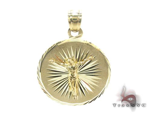 10K Gold Jesus Medallion Pendant Metal