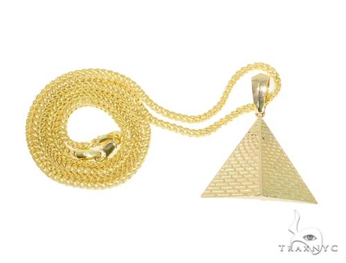 10K Gold Pyramid Pendant Set  44432 Metal