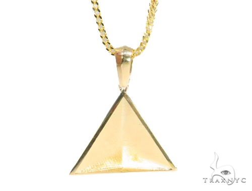 10K Gold Pyramid Pendant Set  44432 Metal