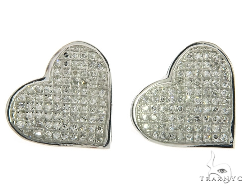 10K Heart Diamond Earrings 57394 Stone