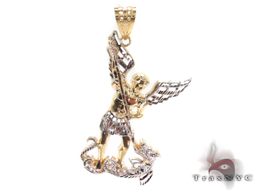 10K Two Tone Gold Saint Michael Pendant 33929 Style