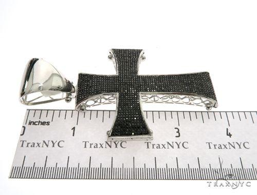 10K White Gold Black Diamond Cross Crucifix Pendant. 63473 Metal