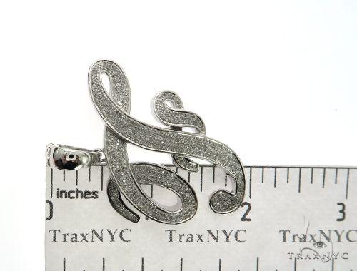 10K White Gold Diamond 'F' Initial Pendant 63554 Metal