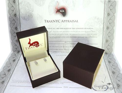 10K White Gold Diamond Flower Earrings 65274 Stone
