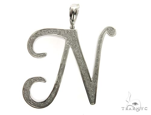 10K White Gold Diamond 'N' Initial Pendant 63553 Metal