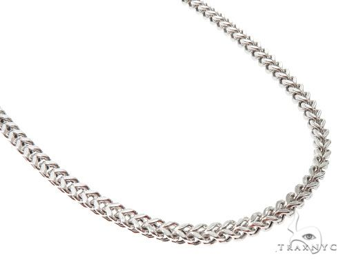 10K White Gold Hollow Franco Link Chain 24 Inches 5.5mm 34.5 Grams 63990 Gold