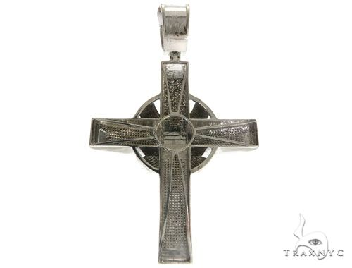 10K White Gold Micro Pave Diamond Cross Crucifix 61476 Diamond