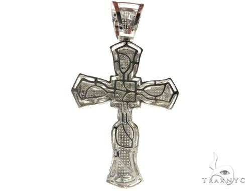 10K White Gold Micro Pave Diamond Cross Crucifix 61626 Diamond