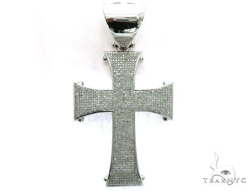 10K White Gold Micro Pave Diamond Cross Crucifix Design Pendant 63471 Metal