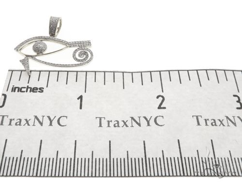10K White Gold Micro Pave Diamond Egyptian Bedouin Evil Eye Charm Pendant 63621 Metal