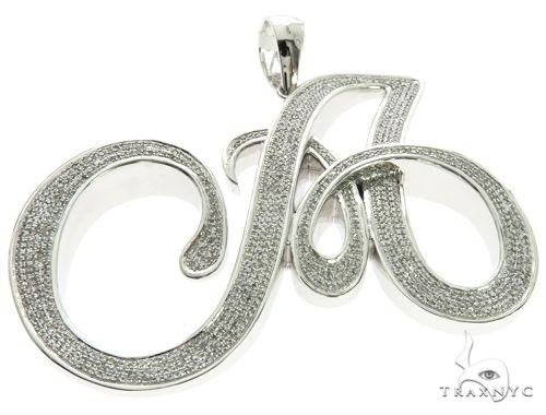 10K White Gold Micro Pave Diamond Initial Letter A Pendant 63538 Metal