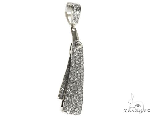 10K White Gold Micro Pave Diamond Small Barbers Razor Blade Pendant Flips-open 63623 Metal