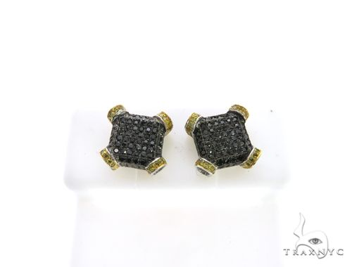 10K White Gold Micro Pave Diamond Stud Dual Color Earrings. 63404 Stone