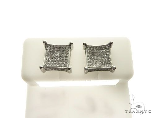 10K White Gold Micro Pave Diamond Stud Earrings 62628 Stone