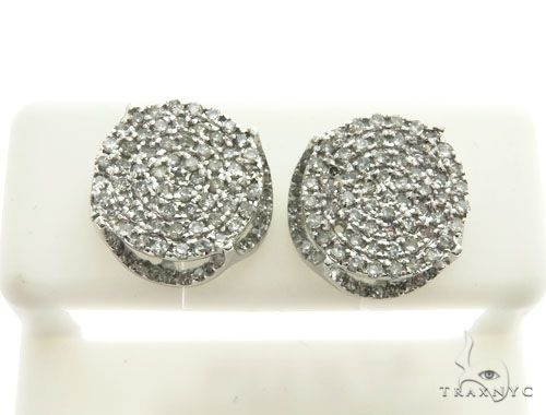 10K White Gold Micro Pave Diamond Stud Earrings 63017 Stone