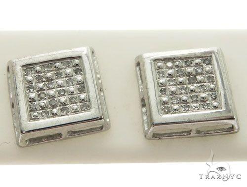10K White Gold Micro Pave Diamond Stud Earrings. 63334 Stone
