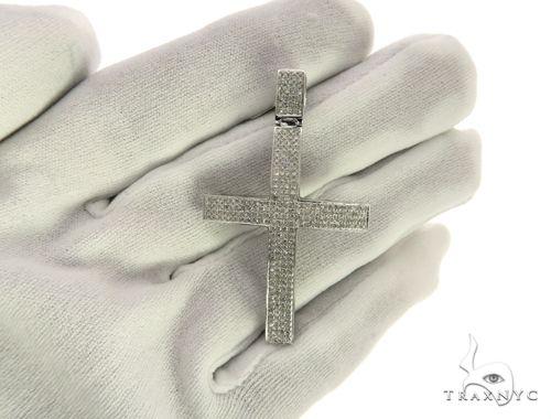 10K White Gold Micro Pave Diamond Stud Pendant 63545 Stone