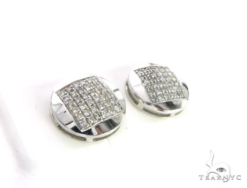 10K White Gold Micro Pave Diamond Stud Round Earrings 63507 Stone