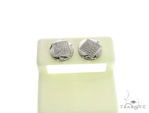 10K White Gold Micro Pave Diamond Stud Round Earrings. 63491 Stone