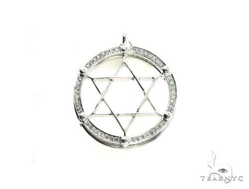 10K White Gold Micro Pave Diamond Stud Star Pendant 63148 Metal