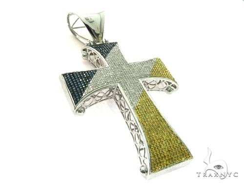 10K White Gold Micro Pave Diamond Tri Color Cross Crucifix Pendant. 63472 Metal
