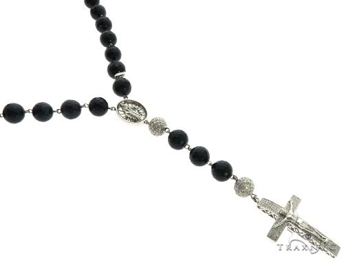 10K White Gold Pave Diamond Rosary Chain 32 Inches 10mm 106.5 Grams 61663 Diamond