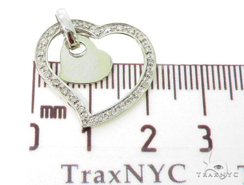 10K White Gold Prong Diamond Heart Pendant 56833 Stone
