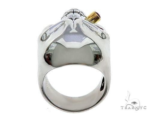 10K White Gold Skull Ring With Cigar 65097 Stone
